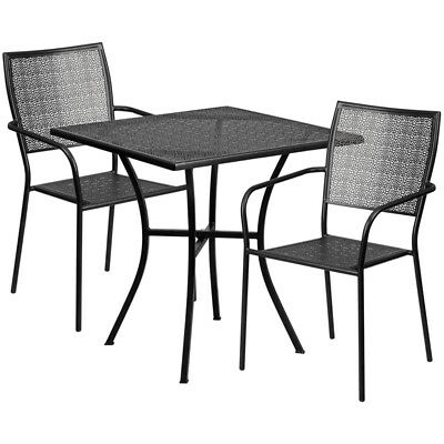 Flash Furniture Contemporary Table Chair Set In Black CO-28SQ-02CHR2-BK-GG