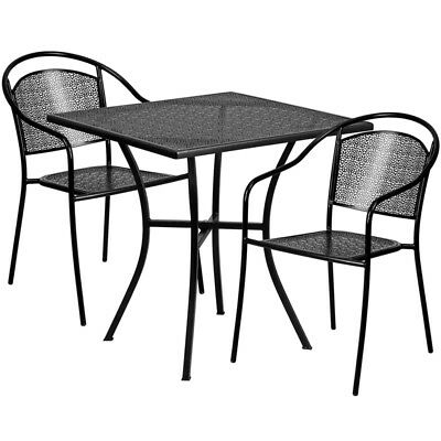 Flash Furniture Contemporary Table Chair Set In Black CO-28SQ-03CHR2-BK-GG