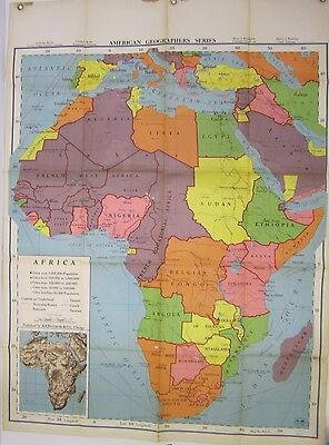 Vintage 1957 American Geo Series Africa Wall Map Large Geography AJ Nystrom