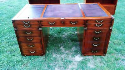 STARBAY Nautical Rosewood & Leather Richelieu Home Office Desk Made in France