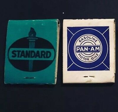 (2) Full Standard Oil Company Matchbooks - Panam Gas Can Tin Sign Esso Sohio