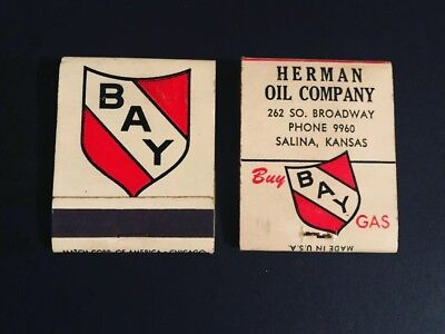 (2) West Coast Bay Gas Oil Matchbooks - Can Sign Tin Can Pump Grease