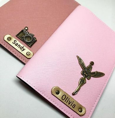 Personalised Customised Leather Passport Holder Cover Free with Name & Charm