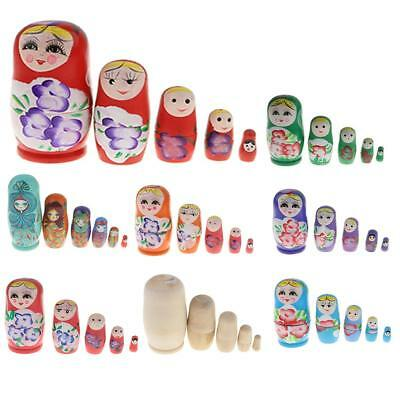 TRADITIONAL WOODEN RUSSIAN NESTING DOLL MATRESHKA GIRLS Babushka Xmas Gift Decor