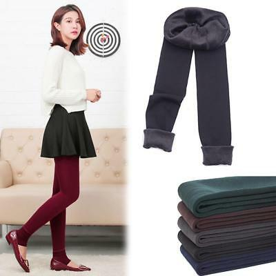 Lady Solid Winter Warm Fleece Lined Thermal Stretchy Leggings Pants GL