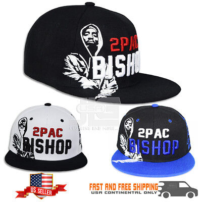 2pac Hip Hop Leader Tupac Bishop Power Respect Black White Snapback Hat Cap  NEW dfb3a8baaed2