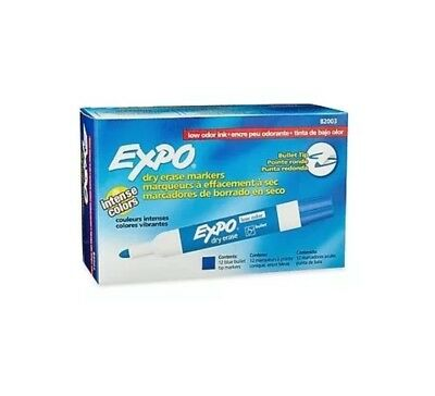 Expo Tank-Style Dry Erase Markers, Bullet Tip, Blue Ink, 12 Pack 82003