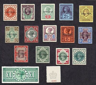 Queen Victoria 1887-92 Jubilee issue SPECIMEN Set of 15 (forgeries)
