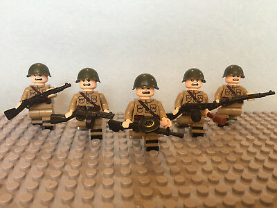 Lego ww2 Russian infantry squad soldiers (x5) M40 helmet compatible military