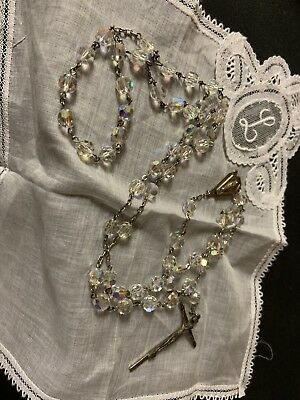 Gorgeous Antique RAINBOW CRYSTAL Glass Beads & STERLING SILVER Rosary Chapel