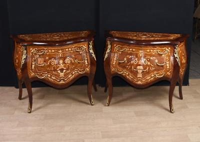 Pair Louis XVI Bombe Commodes Marquetry Chest Drawers