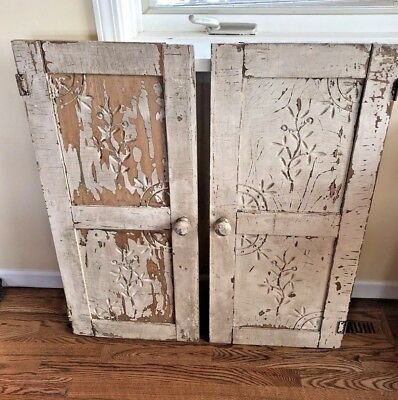 Antique Wood Double Cabinet Doors Hand Carved Design