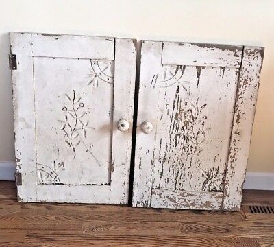 Antique Wood Set Of 2 Small Cabinet Doors Hand Carved