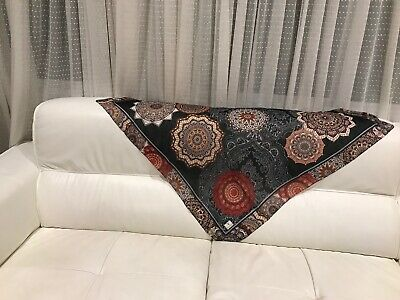 Turkish Style Casual Black-Red Cotton Blend Scarf 37x37 inch