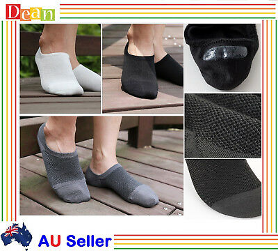 6Prs Men Women Bamboo Invisible Low Cut No-Slip Heel Grip No Show Socks Footlets
