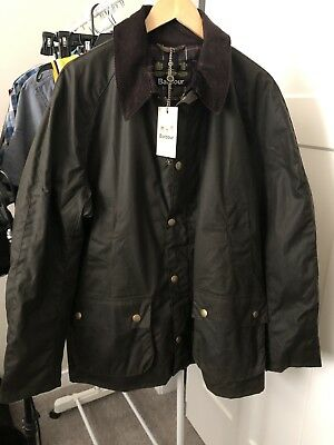 NWT Men's Barbour Wax Cotton Ashby Jacket XL Olive Brand New