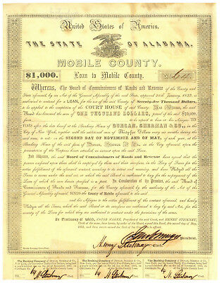 Mobile County State of Alabama Loan $1,000 Bond Certificate. 1853