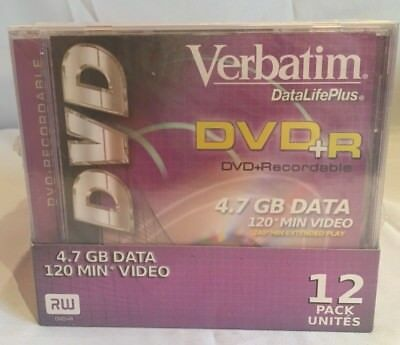 NIP Verbatim Data Life Plus DVD+R 4.7GB 120 Min Video Case of 12 in Jewel Cases