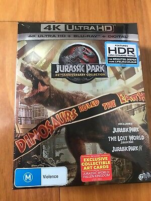 Jurassic Park Trilogy 4K UHD BD UV [Blu-ray] - Inc Bonus Cards - New/Sealed!