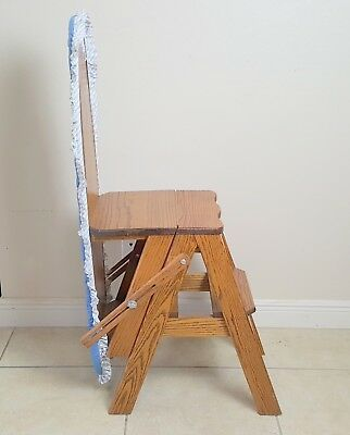 White Clad  Bachelor Convertible Oak Chair Step Stool, Ladder & Ironing Board