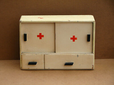 Antique Vintage Wooden Medicine Cabinet Apothecary Wall Chest Rustic 60s