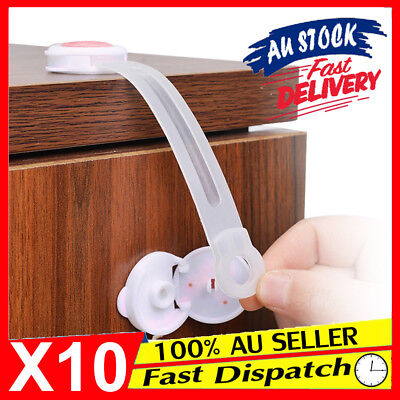 10 x Drawer Belt Cute Lock Cupboard Door Safety Baby Adhesive Kid Child Cabinet