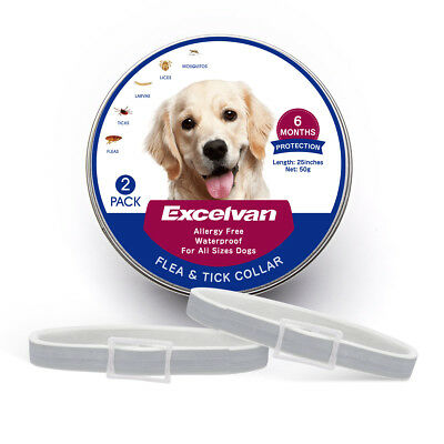 """2 Pack 25"""" Adjustable Flea & Tick Collar for Dogs 6 Months Protection Waterproof"""