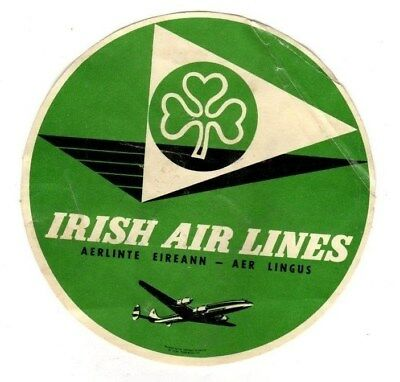 Irish Air Lines ,Travel Baggage Label (Aer Lingus) 4-1/4 Inch Dia.