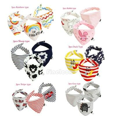3Pcs Baby Feeding Head Scarf Towel Bib Boy Girl Bandana Saliva Triangle Dribble