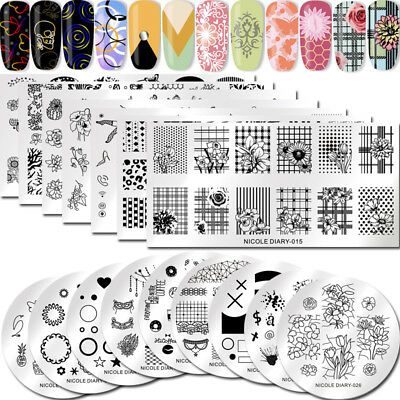 NICOLE DIARY Nail Stamping Plates Geometric Dreamcatcher Flower Image Templates