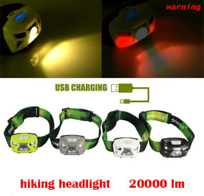 Outdoor Headlight 20000LM LED Motion Sensor Headlamp USB Rechargeable Flashlight