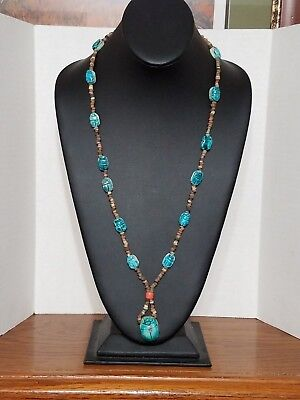 Long Old Antique Egyptian SCARAB NECKLACE Glazed Blue Beetle estate As-Is