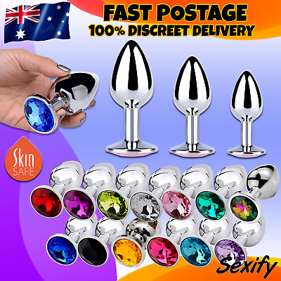 Stainless Steel Anal Butt Plug With Crystal Jewel S M L BDSM Sex Toy 3 Sizes NEW