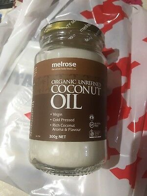 MELROSE ORGANIC UNREFINED COCONUT OIL 300G Free Postage Within Australia