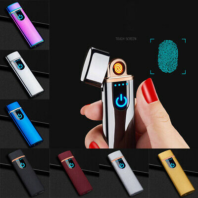 USB Rechargeable Electric Dual Arc Lighter Flameless Touch Sensor Lighters Easy