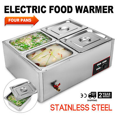 110V 850W 4-Pan Steamer Bain-Marie Buffet Countertop Food Warmer Steam Table