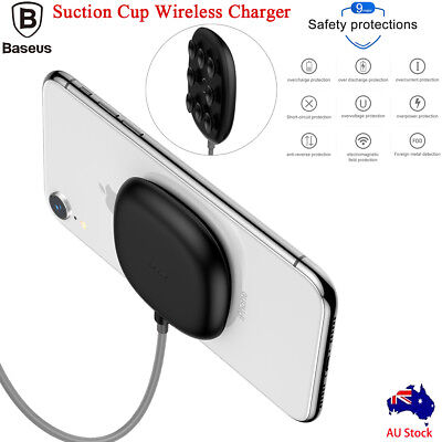 Baseus Qi Fast Wireless Charger Suction Cup Fr iPhone XS Max XR X 8 Plus Samsung