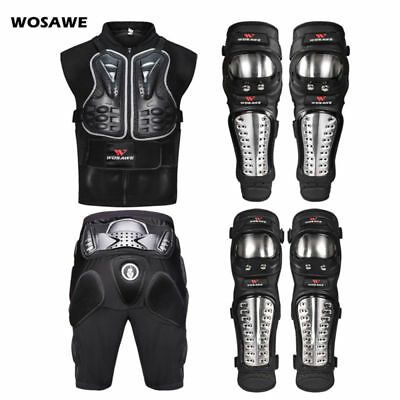 Motorcycle Motorbike Protective Gear Vest Armour Shorts Knee Guard Elbow Pad Set