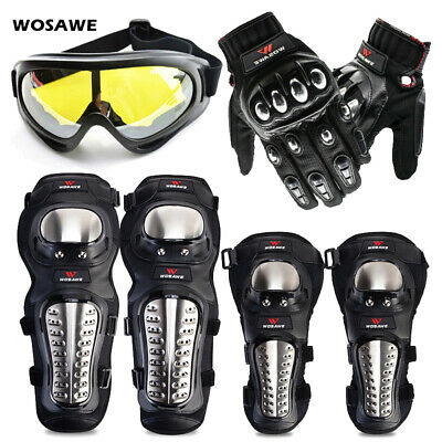 Motorcycle Motobike Protective Gear Knee Pads Shin Guards Sports Goggles Gloves