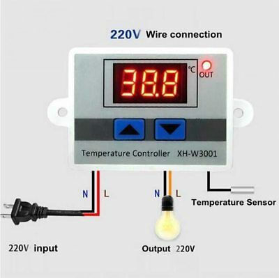 XH-W3001 12/24/220V Digital Control Temperature Microcomputer Thermostat Switch