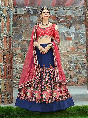 29b0aef8c1 Navy Blue Floral Lehenga Choli Indian Wedding Party Wear Ethnic Lengha  Blouse