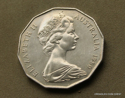1980 Coat Of Arms 50 Cent Coin Lightly  Circulated Really Nice Coin  #cado9