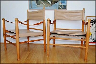 PAIR OF VINTAGE MID CENTURY DANISH SAFARI CHAIRS LEATHER AND OAK 1960's