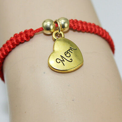 Women New Style Metal Heart Shape Red Rope Expandable Bracelet LH