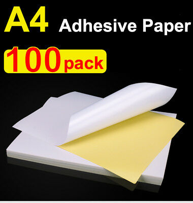 A4 White Sticker Paper Sheet Self Adhesive Glossy Paper Label Print