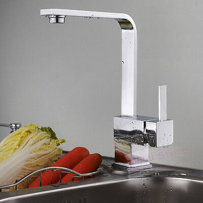 Contemporary Square Single Handle Swivel Kitchen Sink Faucet Mixer Tap in Chrome