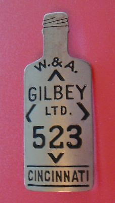 Vintage Figural Employee Pin Badge: W&A GILBEY Gin and Whiskey; Bottle Shaped