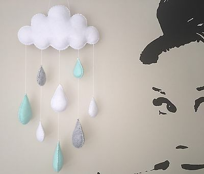 Cloud rain nursery mobile wall decor baby shower gift mint cot mobile baby de