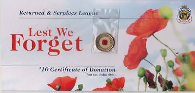 2012 UNC $2 Two Dollar Remembrance Day Red Poppy Coloured Coin On RSL Card