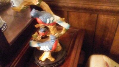 """Beautiful Blue Jay 10"""" Height on 5""""plate Figurine Sculpture Statue Family Life"""